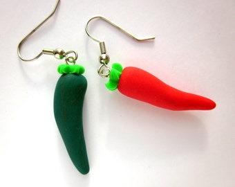 Chilli Pepper Earrings, Food Jewellery, Red Earrings, Green Earrings, Polymer Clay Red Green Jewellery, Chef Cook Jewellery, Food Earrings