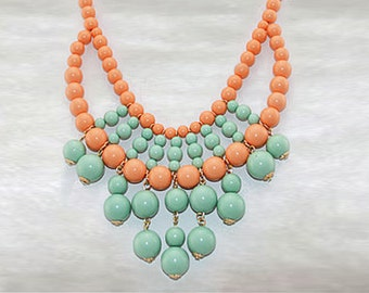 Olivia Necklace - Hot Popular / Pastel Peach Blue Beadwork bubble necklace, bib statement necklace, bridal bridesmaid party necklace