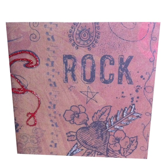 Grunge Heart Rock On Journal or Mini Scrapbook, Handmade (E16)