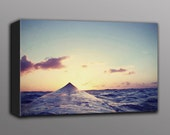 Surfboard Photography - Sunset Surfing Photo Printed on Canvas Hawaii. Ocean Beach House Home Decor Vintage Art