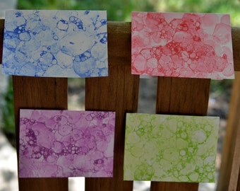 Bubble Paint Notecards - Set of 4 with Envelopes