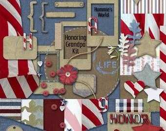 Digital Scrapbooking Kit - Hummie's Honoring Grandpa