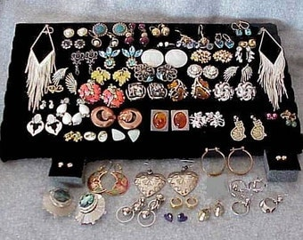 52 Antique and Vintage EARRINGS LOT