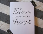 Bless Your Heart greeting card, blank inside