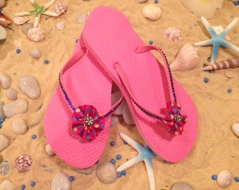 BLOWOUT SALE!!!Gorgeous pink swarovski embellished children flip flops size 3 /  4