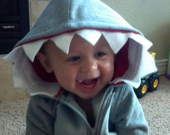 SHARK! - Toddler Zipper Long Sleeve Hoodie - Gray Shark - Handcrafted