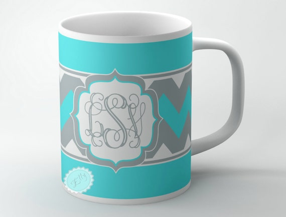 Tiffany blue  coffee cup monogrammed cup wit grey chevron personalized gift