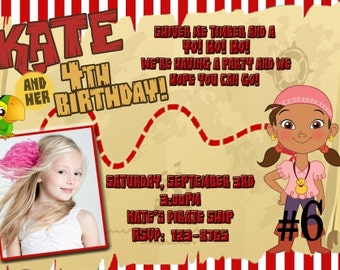 Izzy Invitation, Izzy  Birthday Invitation, Jake and Neverland Pirates Birthday Party Digital Invitation 4x6 or 5x7