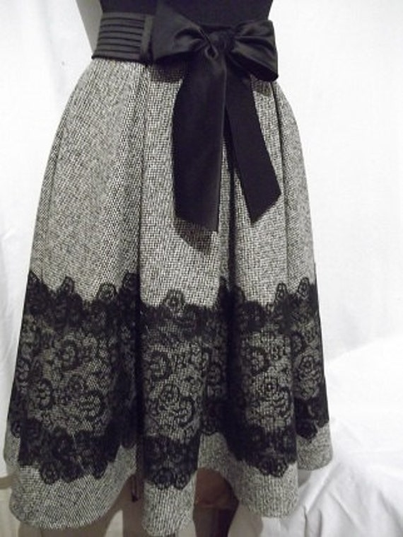 Grey tweed skirt with lace for women by Whitestyle on Etsy