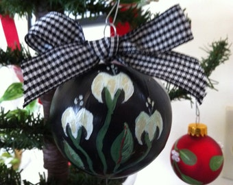 hand painted ornaments  based on traditional Romanian rug designs