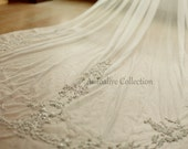 White/Ivory Embroidery Lace Beading Beaded Wedding Veil 3M Long Cathedral Length Bridal Veil with Comb