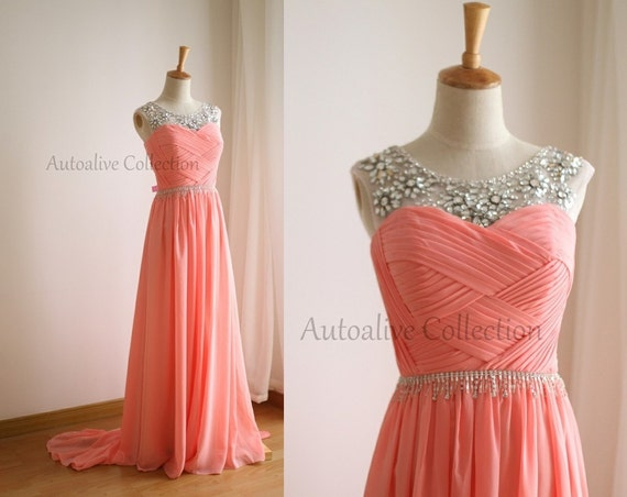 Coral Pink Chiffon Simple Wedding Dress/Bridesmaid By