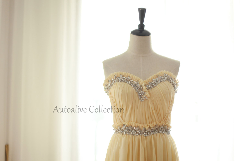 Sweetheart Yellow Chiffon Simple Wedding Dress/Bridesmaid Dress/Prom Dress with beading Knee Short Dress