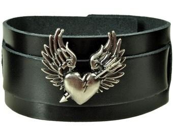 """Leather bracelet """"broken heart"""""""