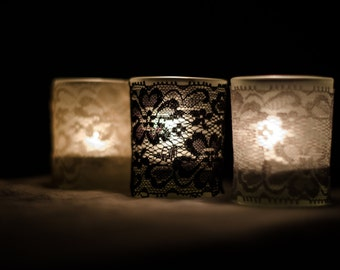 Set of 25 Grey Vintage lace votive candle slip covers