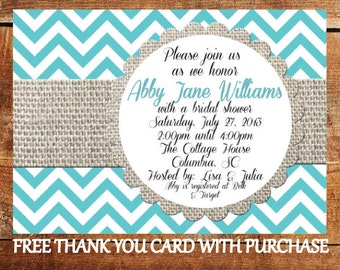 Chevron Bridal Shower Invitation - Printable Burlap Wedding Shower Invite with FREE Thank You Card