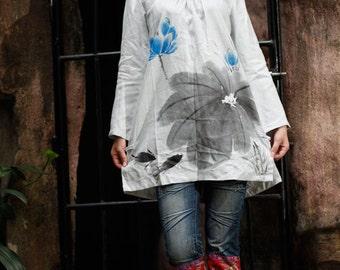 Hand Painted Long Sleeve Shirt Women Blouse Women's Top
