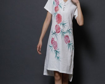 Maxi Dress Summer Dress Long Dress Hand Painted Flower Dress Maxi Dress Long Dress  Spring Dress Summer Dress Day Dress with Flower