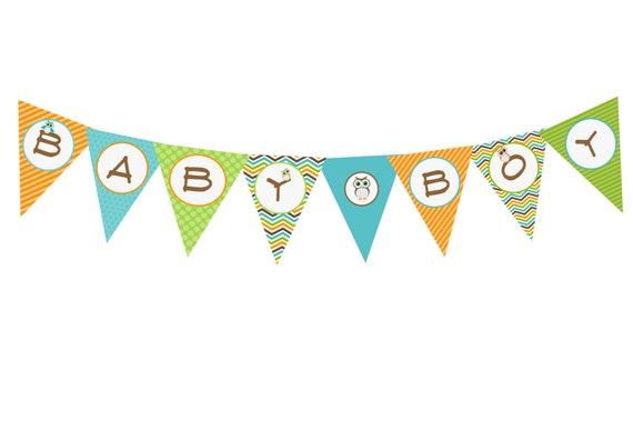 Items similar to DIY Baby Boy Shower Banner, Owl baby boy shower ...