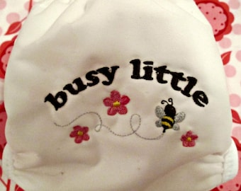 "Pocket Diaper with ""Snail""  Removable Insert, Precious ""Busy Bee"" Design"