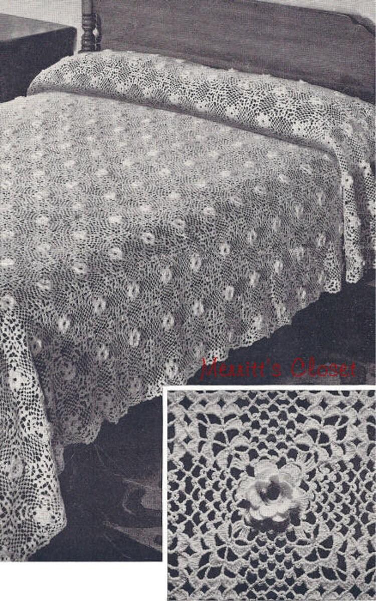 Beauty Rose Bedspread Vintage Crochet Pattern By