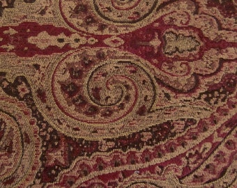 PAISLEY Woven  Chenille  Dark Red, Brown, Tan Contemporary Upholstery Fabric