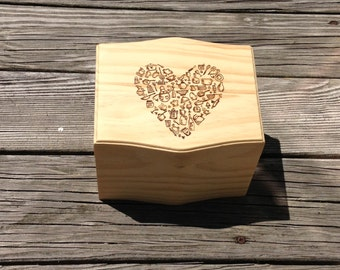 Heart Recipe Box- Wood Burned