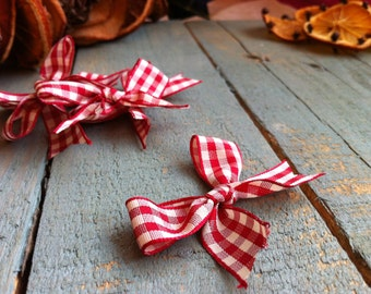 Red Natural Gingham Bows -  Craft Supplies
