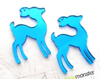 Large Blue Mirror Deer - 2 pcs, charms, pendants, laser cut acrylic, couture