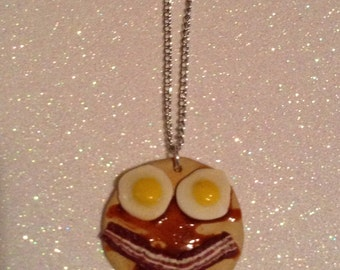 FREE SHIPPING U.S. Polymer clay  pancake, eggs and bacon breakfast smile necklace