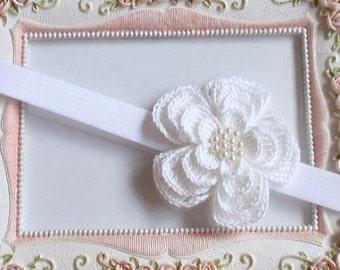 Headband With Crochet Flower For Baby, Girl H-022-01