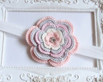 Headband With Crochet Flower For Baby, Girl H-043-01