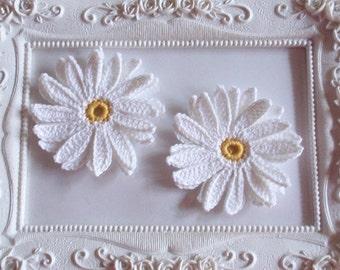 2 Crochet flowers applique CH-023-01