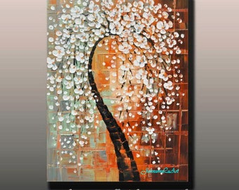 Original modern abstract landscape thick texture impasto palette knife white flowers tree blossom oil painting on 24x36 Canvas Ready to Hang