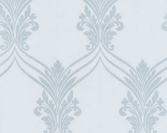 Blue Gray Chandelier Swag Damask - Victorian Decor, Traditional, Tonal, Scroll - Wallpaper By The Yard - wallpaperyourworld - SD25685