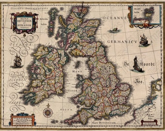 Digital Collage Sheet for Scrapbooking Old Antique Map of United Kingdom for Instant Download Ireland Scotland Wales Colorful ClipArt