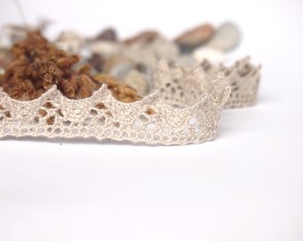 Natural Linen Lace Trim, High Quality, 5 m /5.5 yards