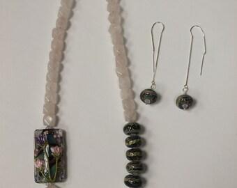 Set: Sterling Silver with Rose Quartz and Swarovski Crystals