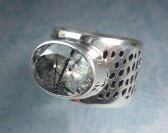 Tourmalinated Quartz Sterling Silver Ring Size 6.5