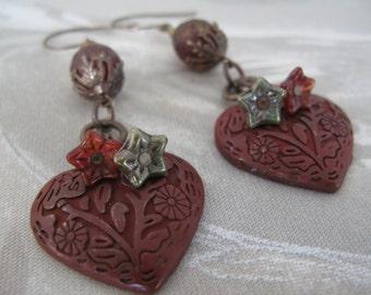 red earrings, heart earrings, maroon earrings, red heart earrings, red and green, valentine gift, romantic earrings, Marsala earrings