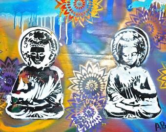 Ganesha Stencils On Wood Print- 17.75x9.5