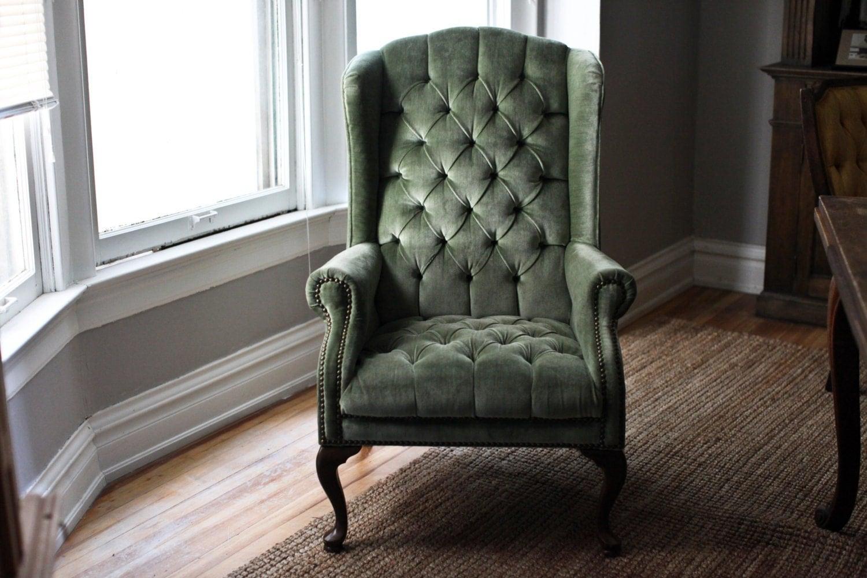 Mint Green Velvet Tufted Wingback Chair