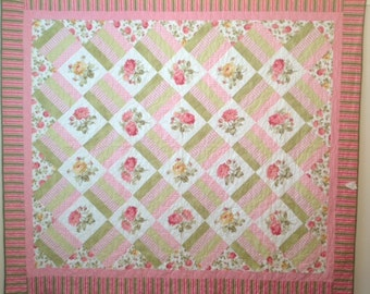 Pink and Green Rose Full Size Quilt