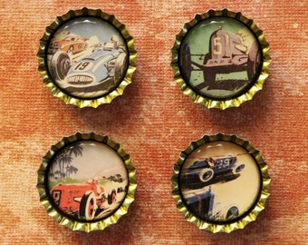 Set of Four Vintage Race Car Bottlecap Magnets