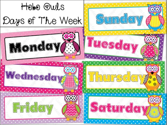 Kindergarten Classroom Decoration Printables : Days of the week calendar cards owl polka dot hobo stitched