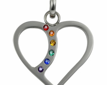 Gay Pride Necklace Heart Shaped Pendant With Colored Stones Gay Pride Jewelry for Men Women Valentines Day Birthday Anniversary Commitment