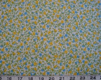 Troy, Yellow-Blue-White Floral, Price per HALF Yard