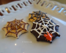 Set of Three Fake Cookies Handmade Halloween Spider Web Sugar Faux Cookie Press Spritz Danish Butter Cookies