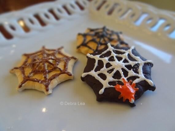 Set of Three Fake Cookies Handmade Halloween Spider Web Sugar Faux Cookie Press Spritz Danish Butter Cookies