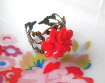 Red Flower Ring, Floral, Antique Bronze Art Noveau Base, Cute, Resin, Fashion, Pretty